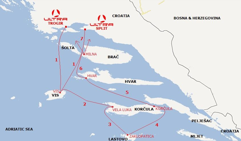 recomended routes sailing Beneteau yacht charter fleet in Croatia