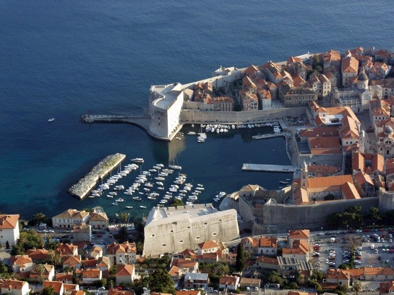 Panoramic view of old town Dubrovnik sailing Croatia