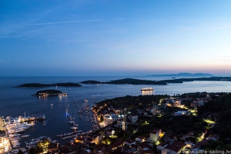 Harbour of city Hvar by night