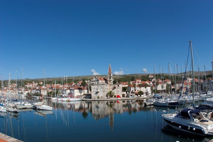 Harbour Milna on Island Brac with Ultra sailing boats Croatia