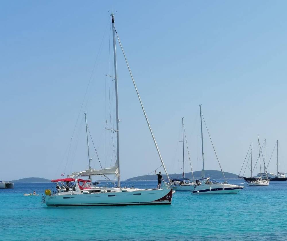 Sailing boats in bay Komiza on Island Vis Croatia