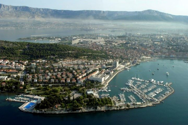 Panoramic view on ACI Marina Split and Marjan